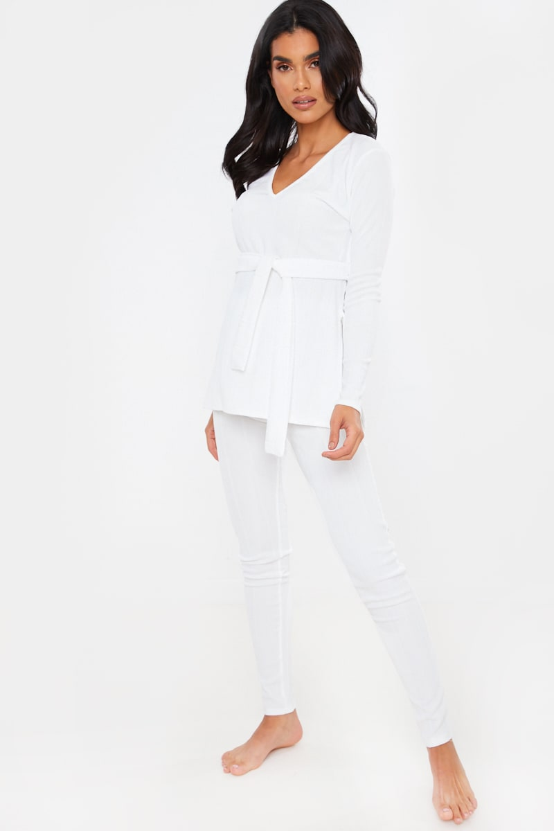 WHITE RIBBED V NECK TIE FRONT DETAIL TOP AND BOTTOMS LOUNGEWEAR SET