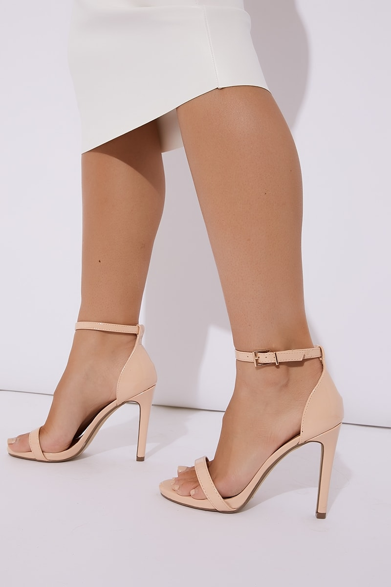 nude patent ankle strap barely there heels