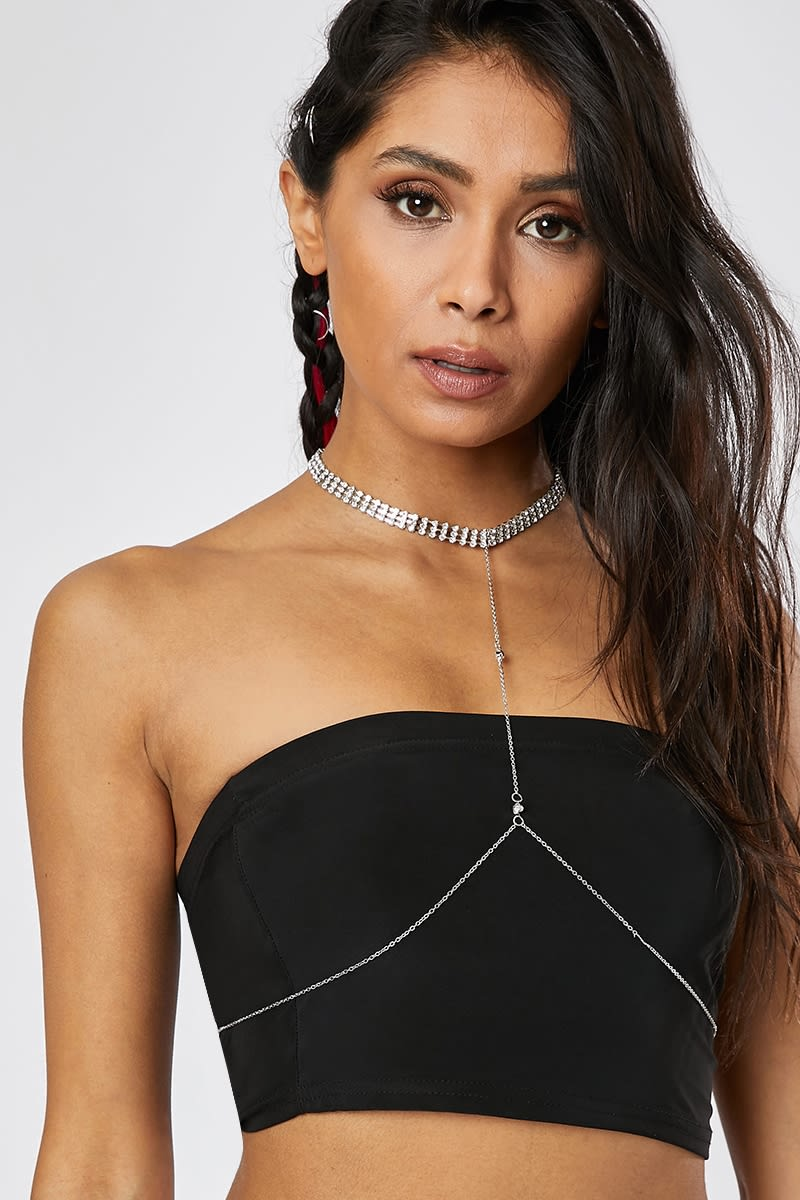 SILVER CHOKER AND NECKLACE