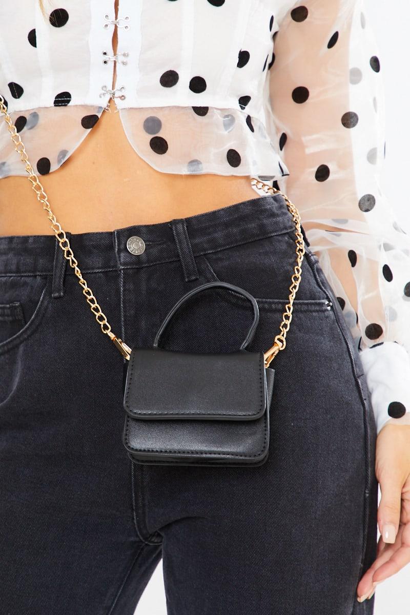 SMALL BLACK GOLD CHAIN BAG
