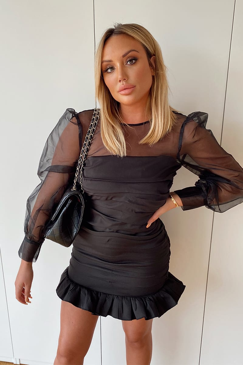 CHARLOTTE CROSBY BLACK ORGANZA BALLOON SLEEVE MINI DRESS