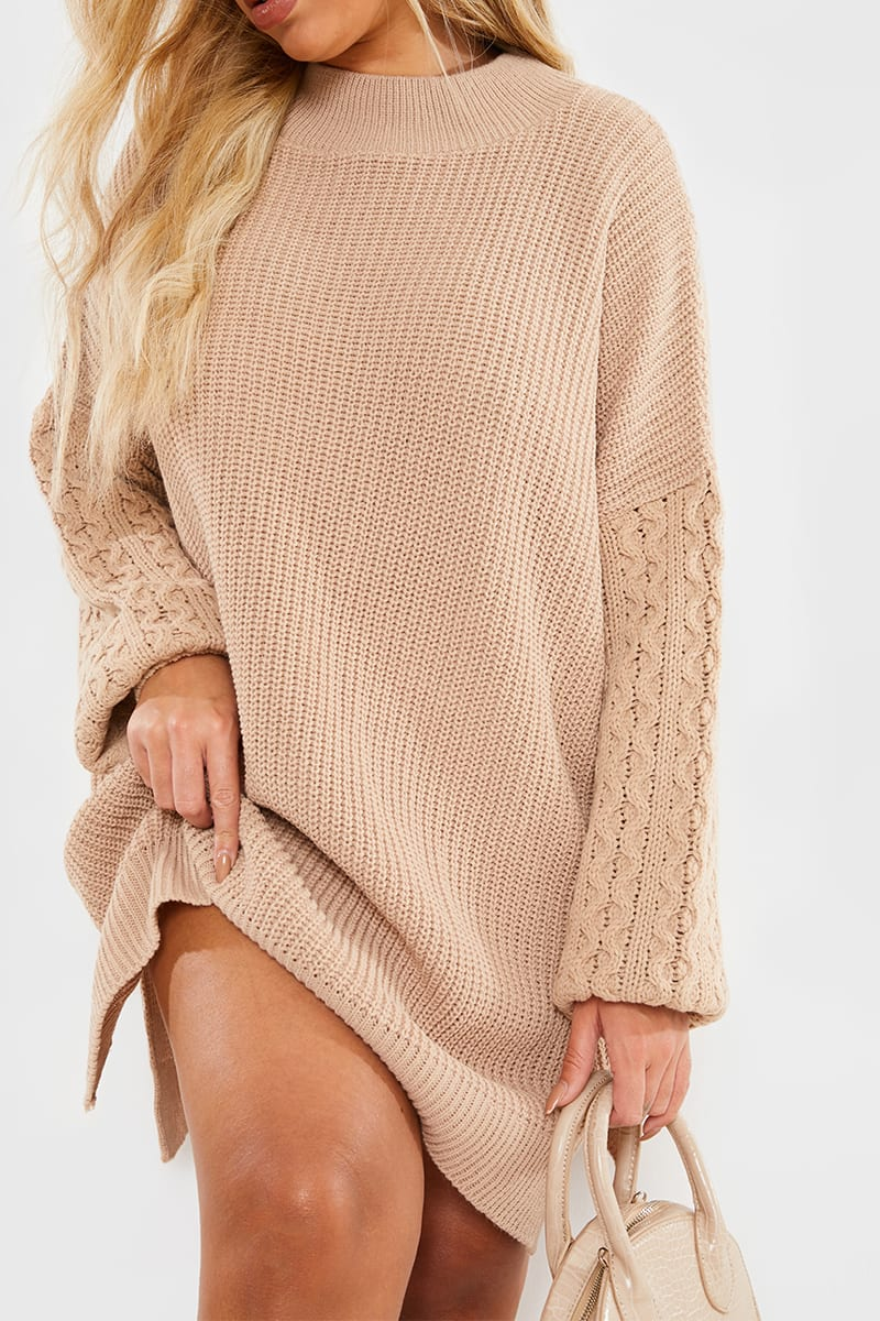 CURVE CHARLOTTE CROSBY CAMEL CABLE SLEEVE JUMPER DRESS