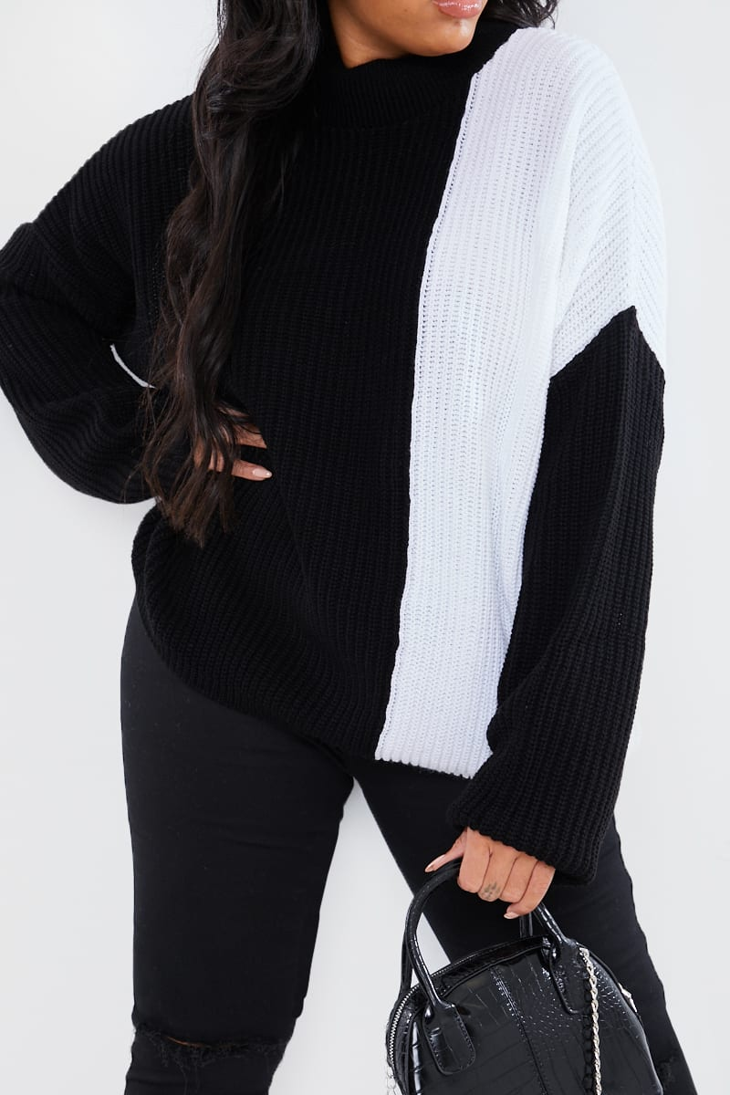 CURVE DANI DYER BLACK AND WHITE COLOUR BLOCK KNIT JUMPER