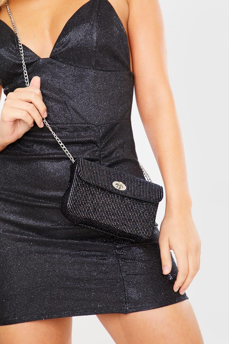 BLACK GLITTER CLUTCH BAG