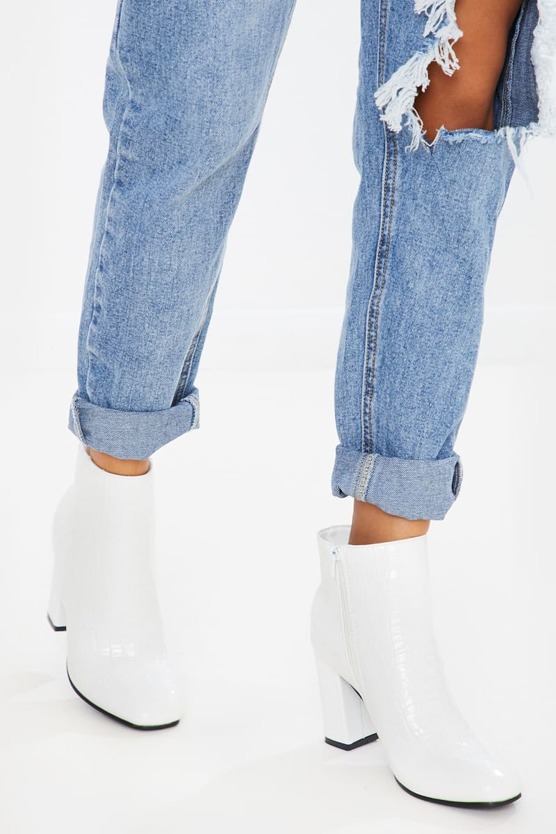 OROBELLA WHITE PATENT HEELED ANKLE BOOTS