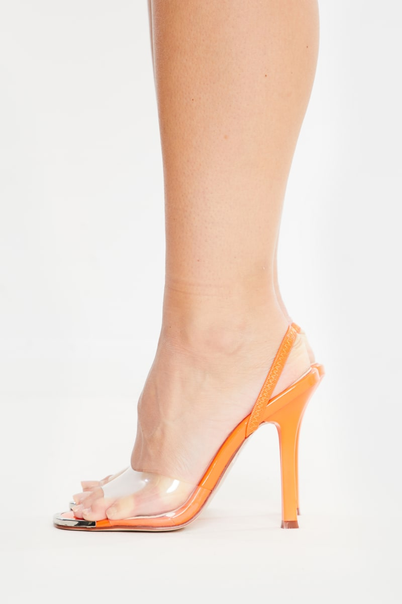 orange clear detail skinny heels