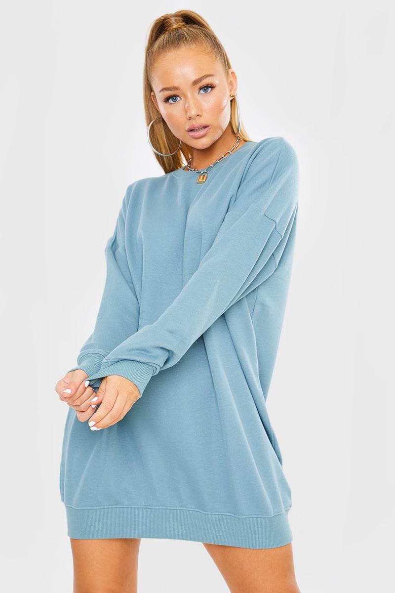 BLUE OVERSIZED SWEATER DRESS