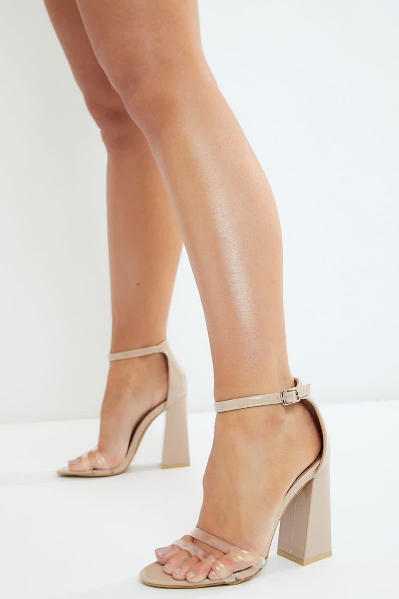 nude clear strap block heels
