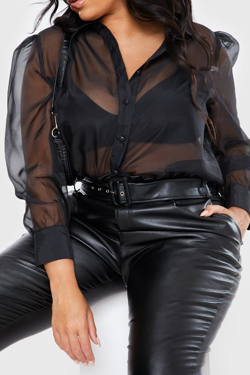 CURVE STEPHSA BLACK ORGANZA BALLOON SLEEVE SHIRT