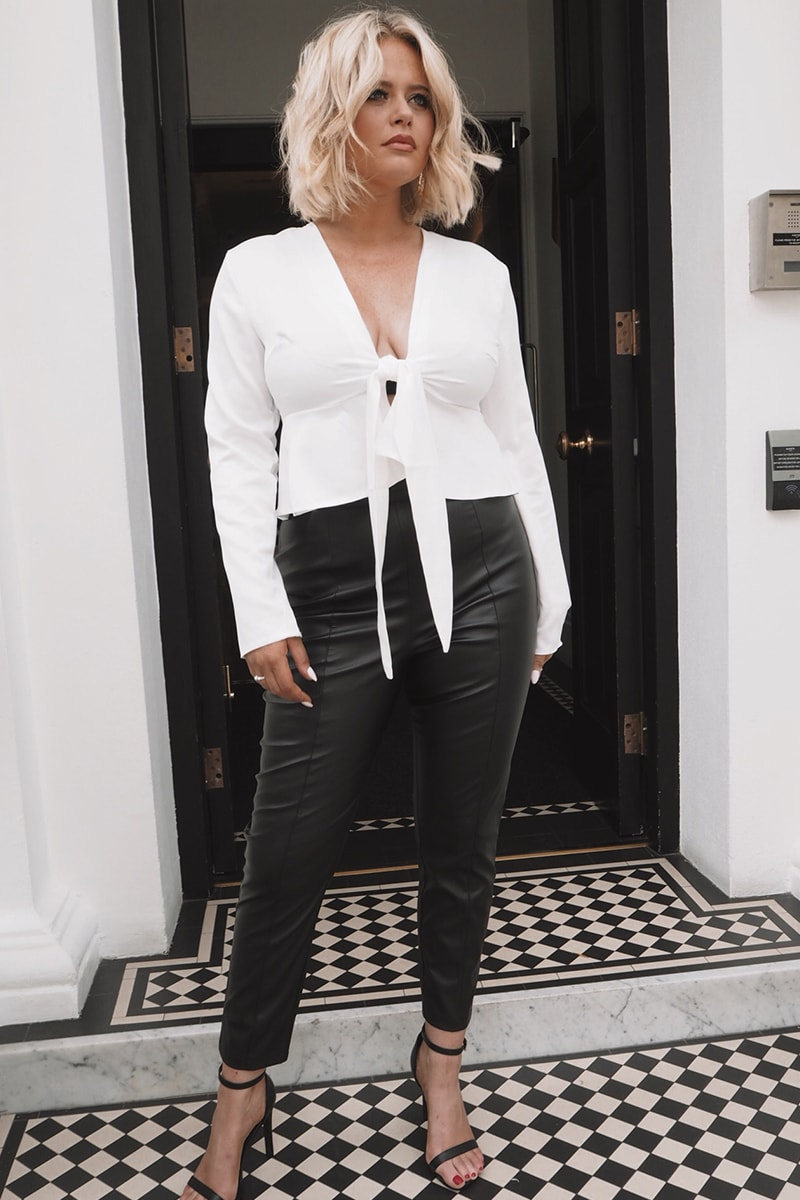 EMILY ATACK BLACK FAUX LEATHER TROUSERS