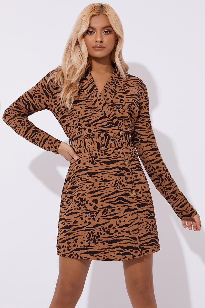 brown mixed animal printed blazer dress