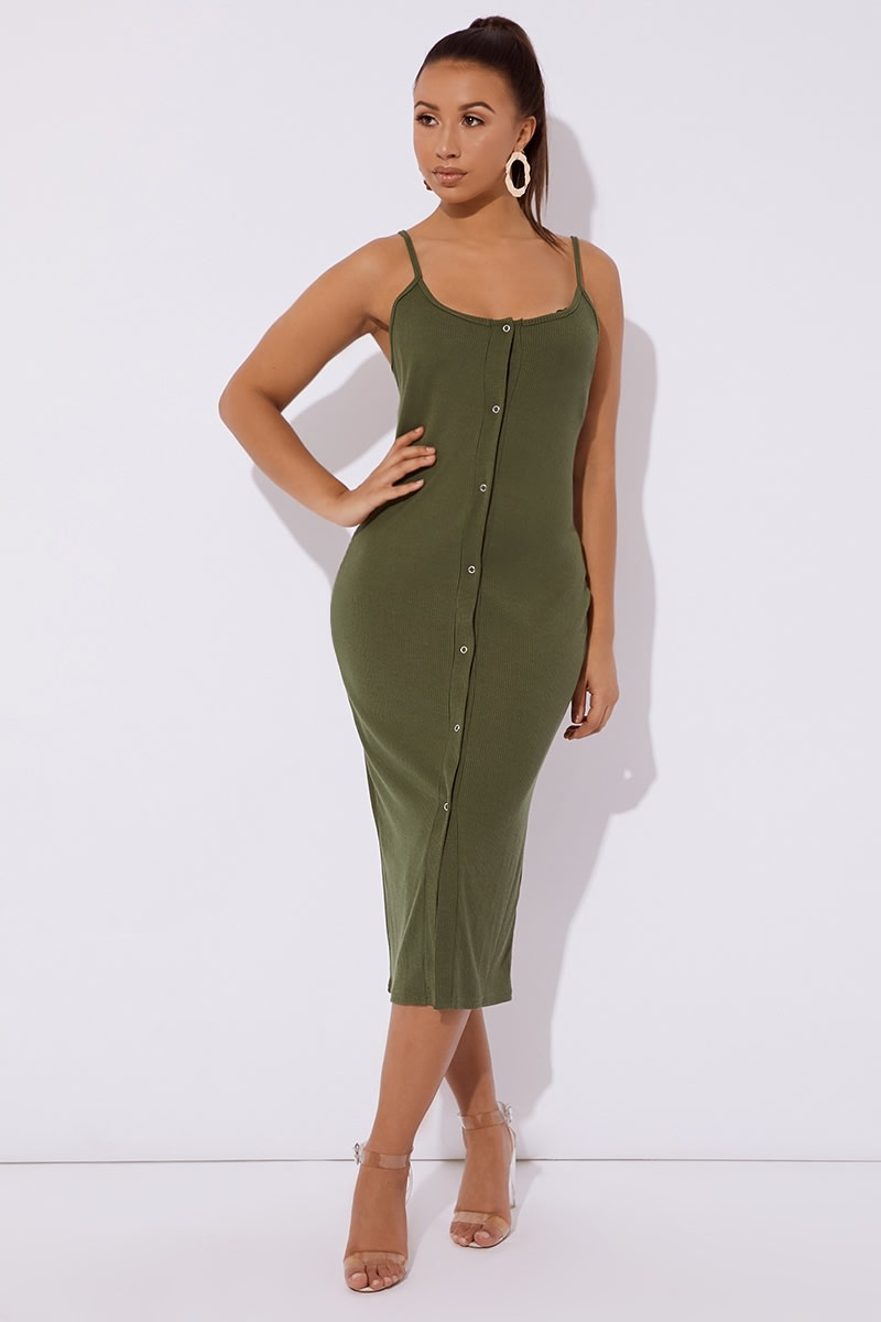 khaki ribbed button through midi dress