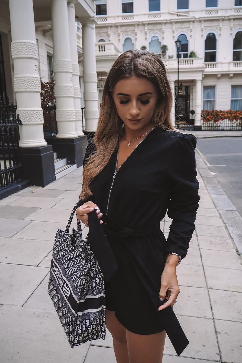 DANI DYER BLACK CORDUROY PUFF SLEEVE ZIP THROUGH PLAYSUIT