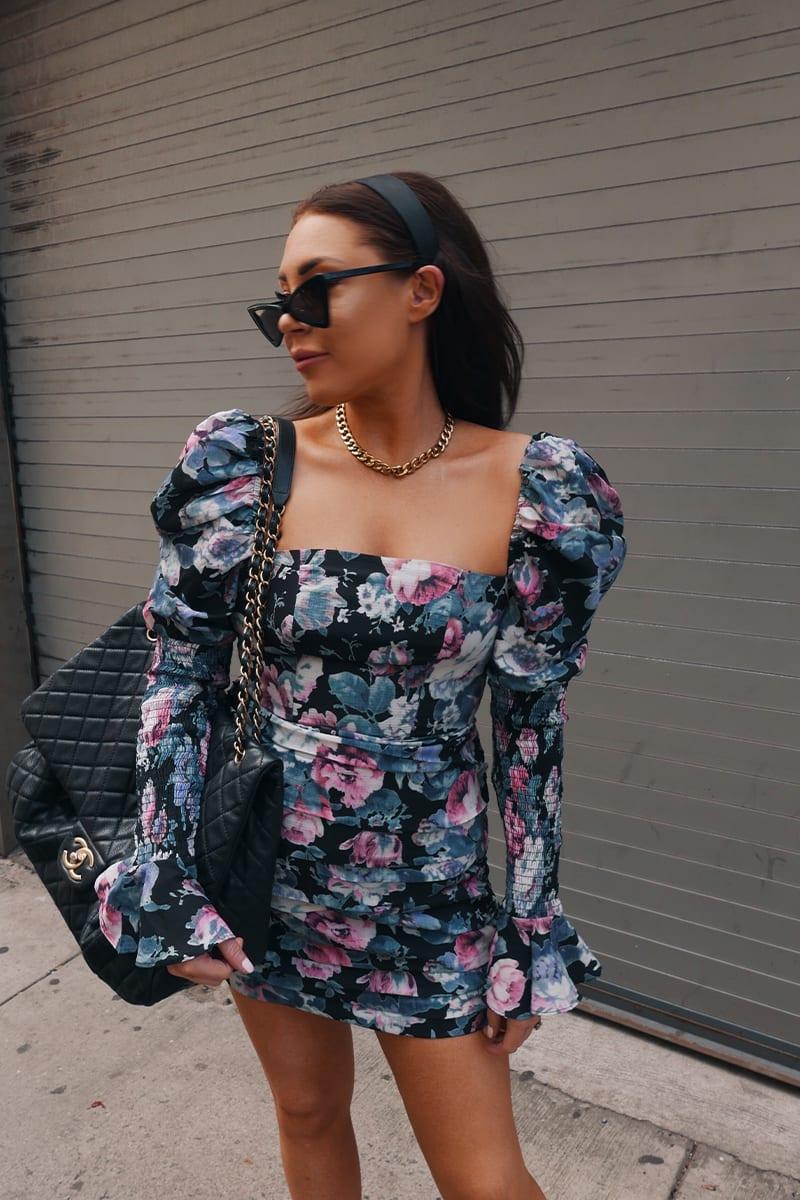 LORNA LUXE BLACK 'LUCKY' ANTIQUE ROSE MINI DRESS