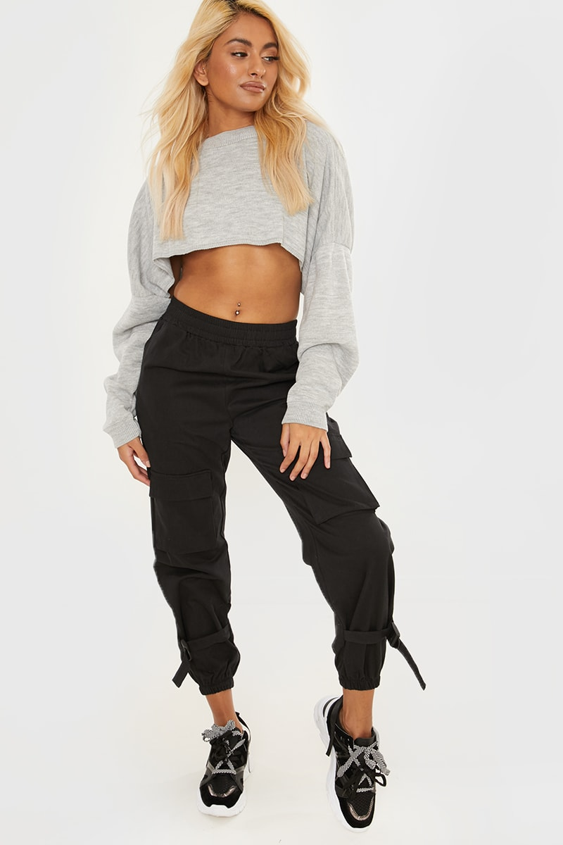 black buckle hem cargo trousers