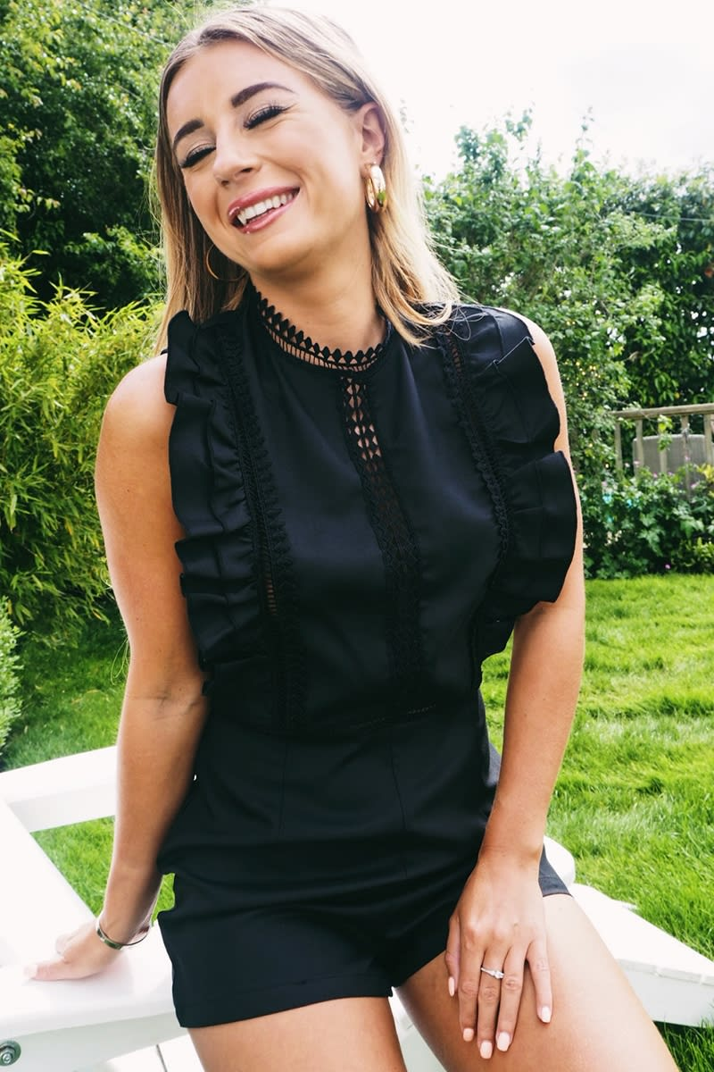 DANI DYER BLACK LACE INSERT FRILL PLAYSUIT