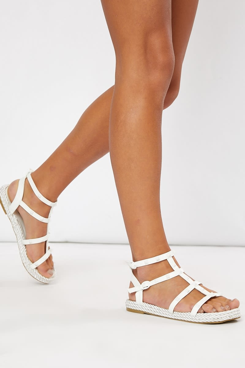 white stud strappy sandals