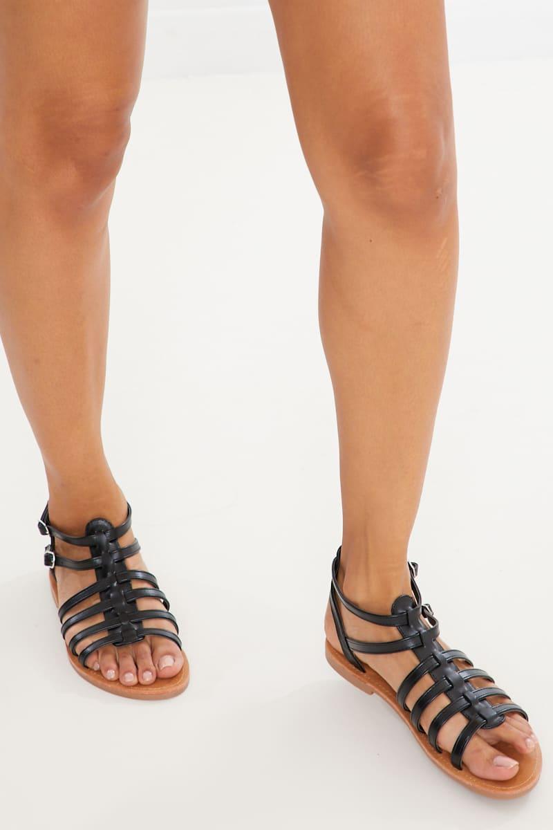 black pu sandals
