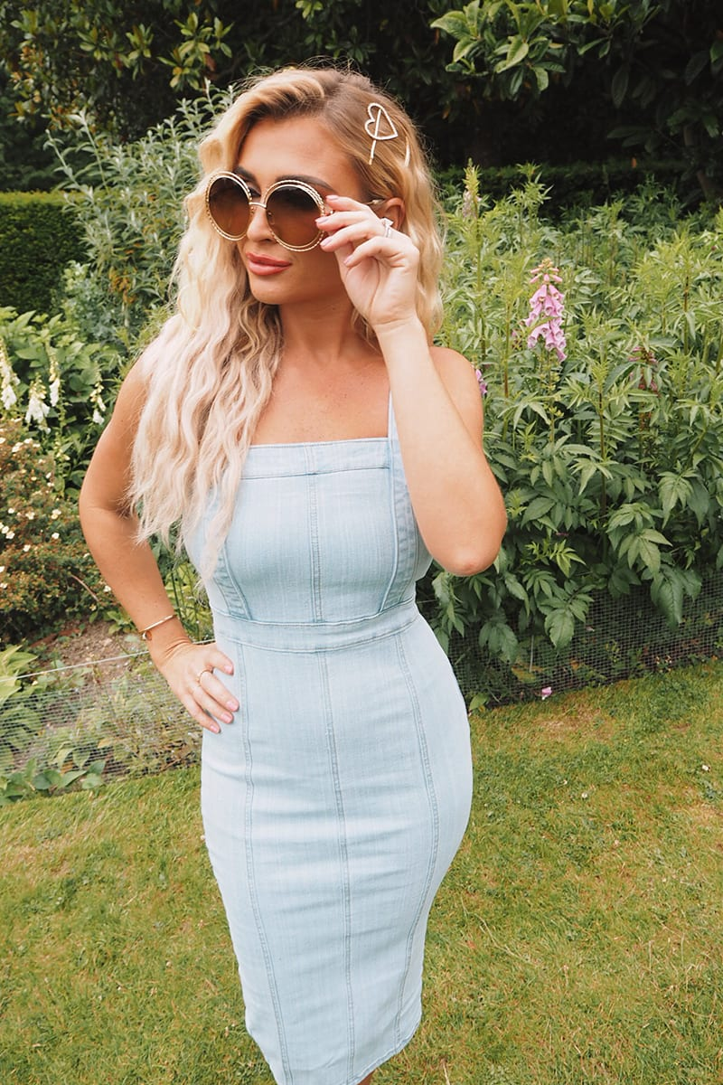 BILLIE FAIERS BLUE STRETCH DENIM MIDI DRESS