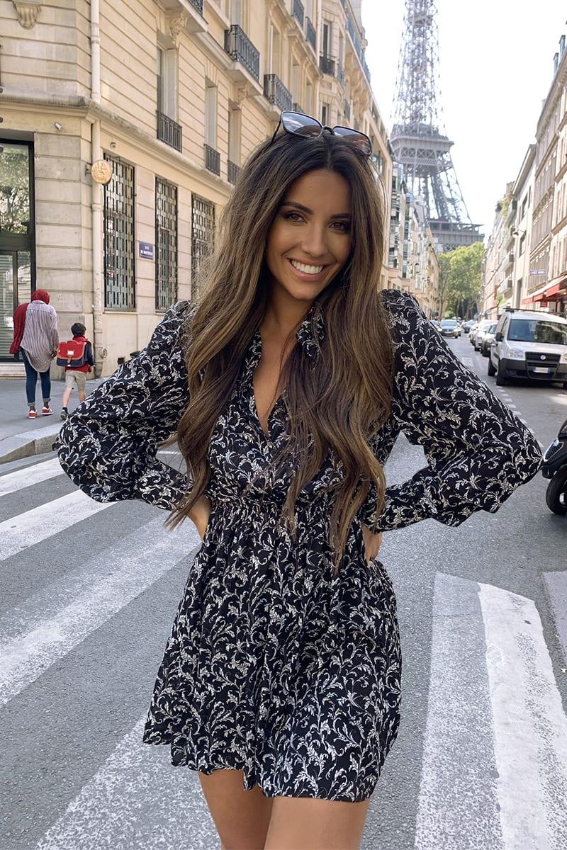 STEPHSA BLACK FLORAL PRINT PAPERBAG WAIST SHIRT DRESS