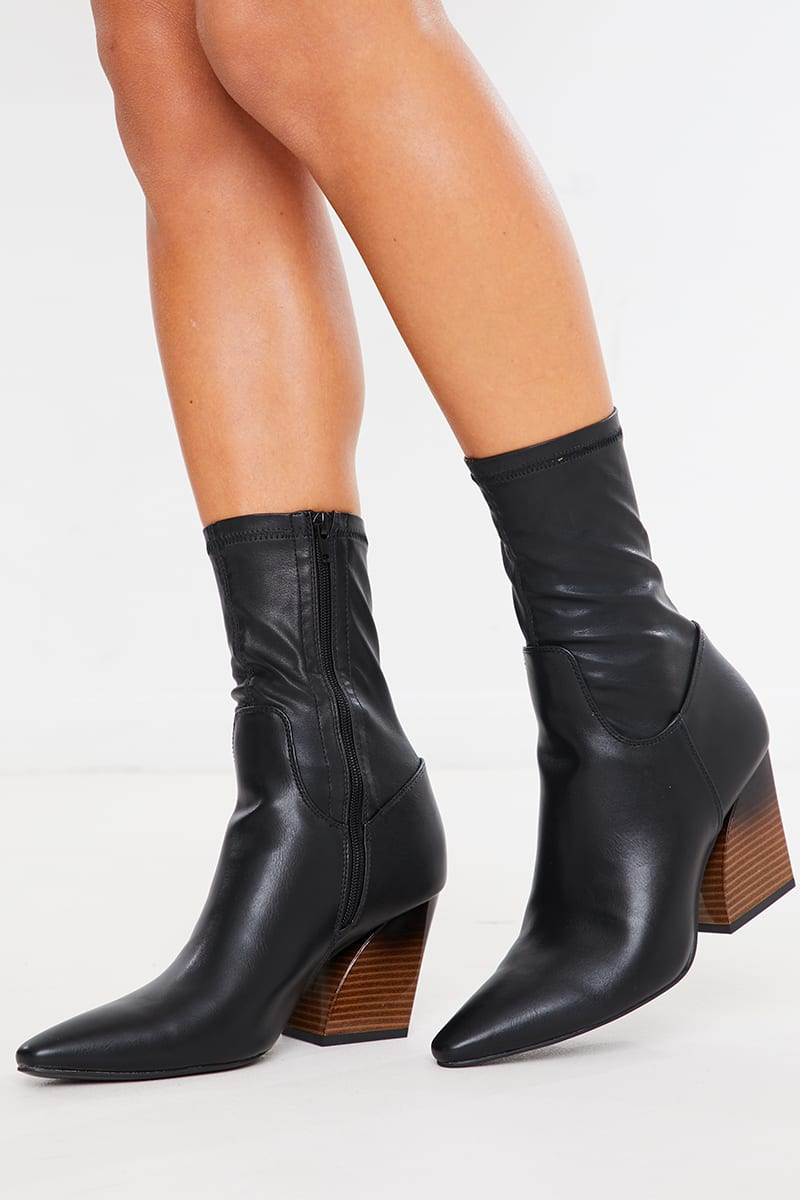 BLACK STRETCH PU ANKLE BOOTS