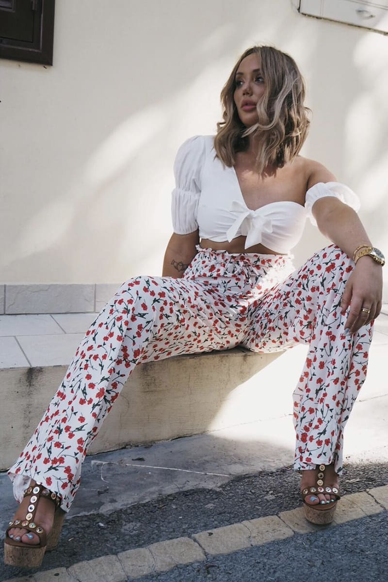 CHARLOTTE CROSBY RED PRINT WIDE LEG TROUSERS