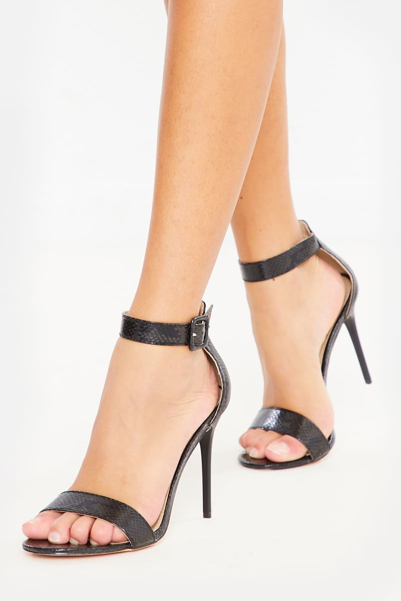BLACK SNAKE PU BARELY THERE HEELS