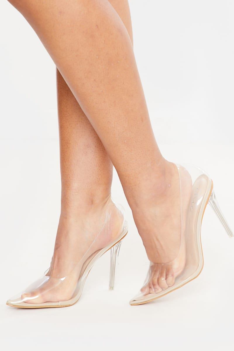 nude patent clear court heels