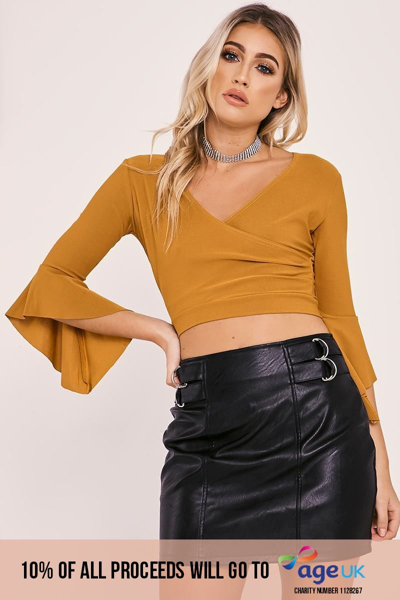 mustard wrap tie back top