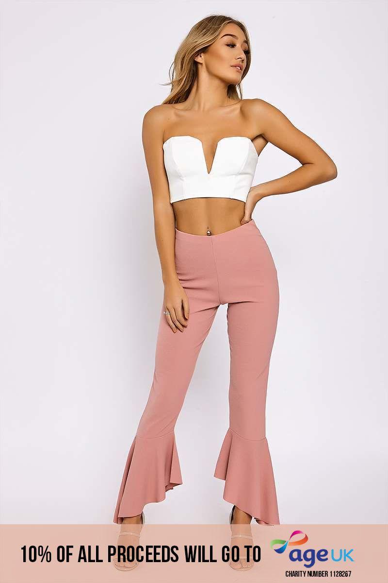 pink frill hem trousers