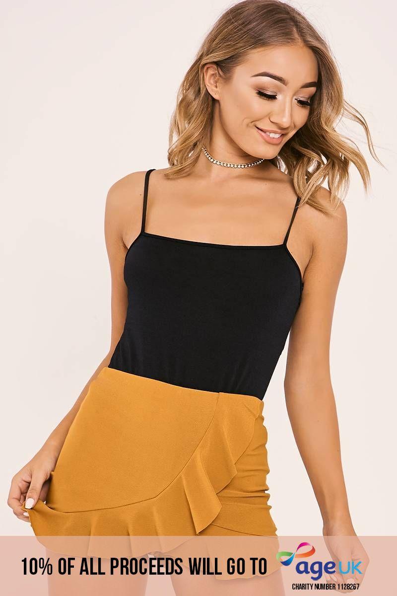 mustard frill wrap overlay shorts