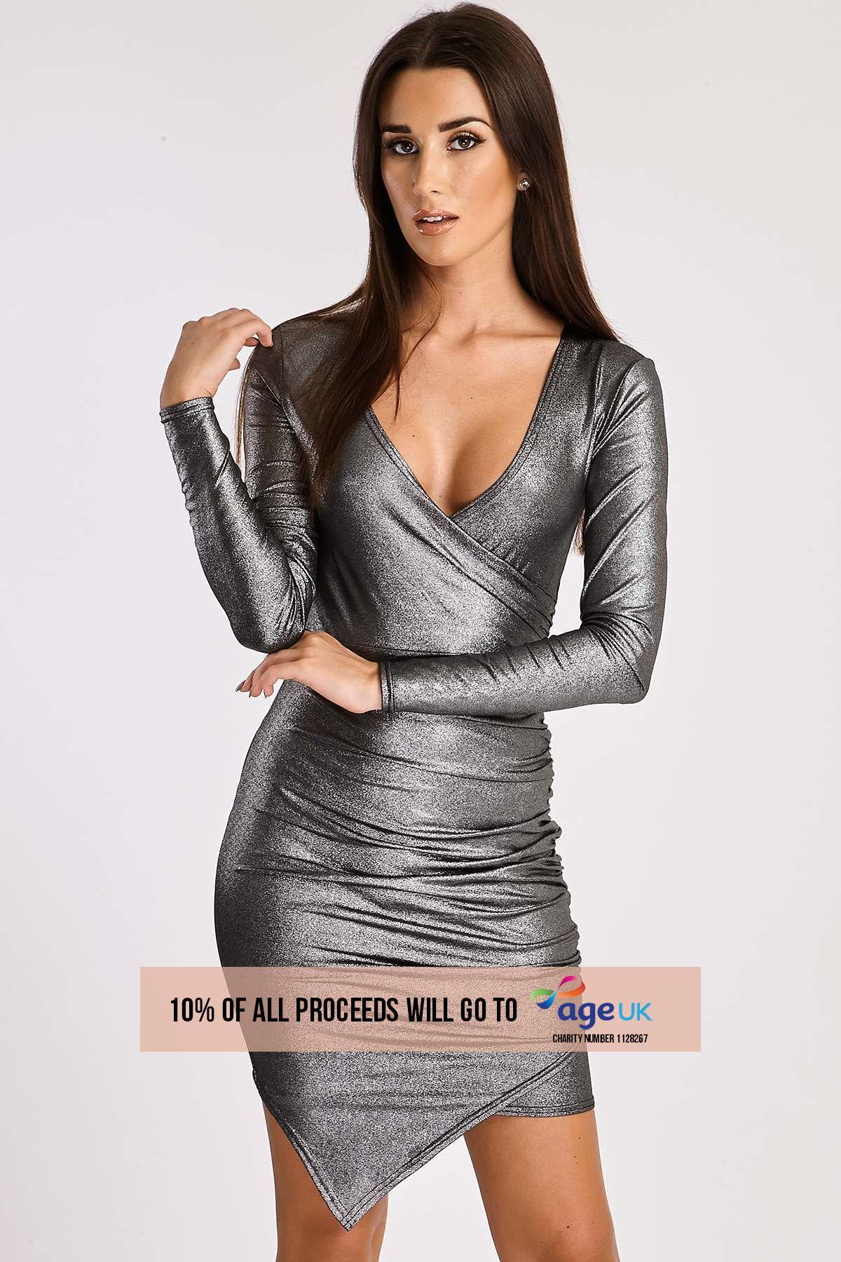 silver metallic ruched wrap dress