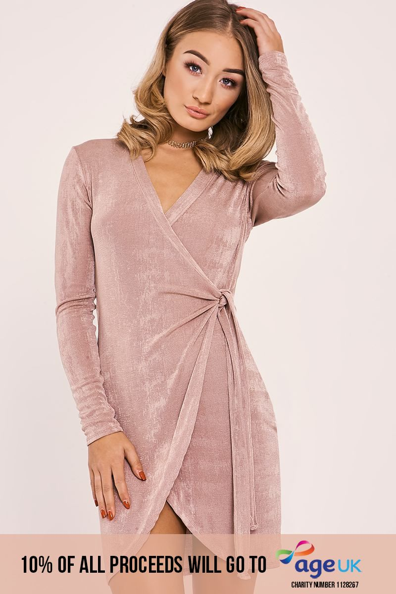 rose slinky wrap dress
