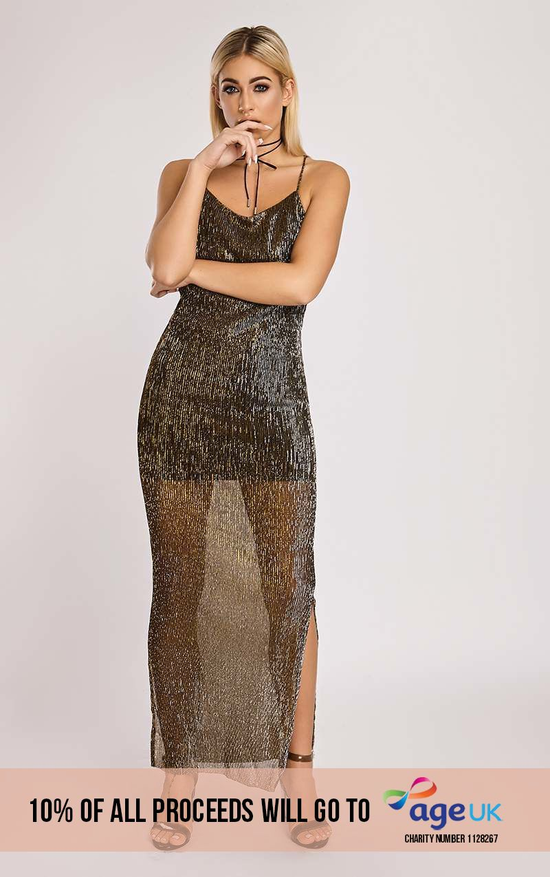gold metallic pleated lurex split side maxi dress