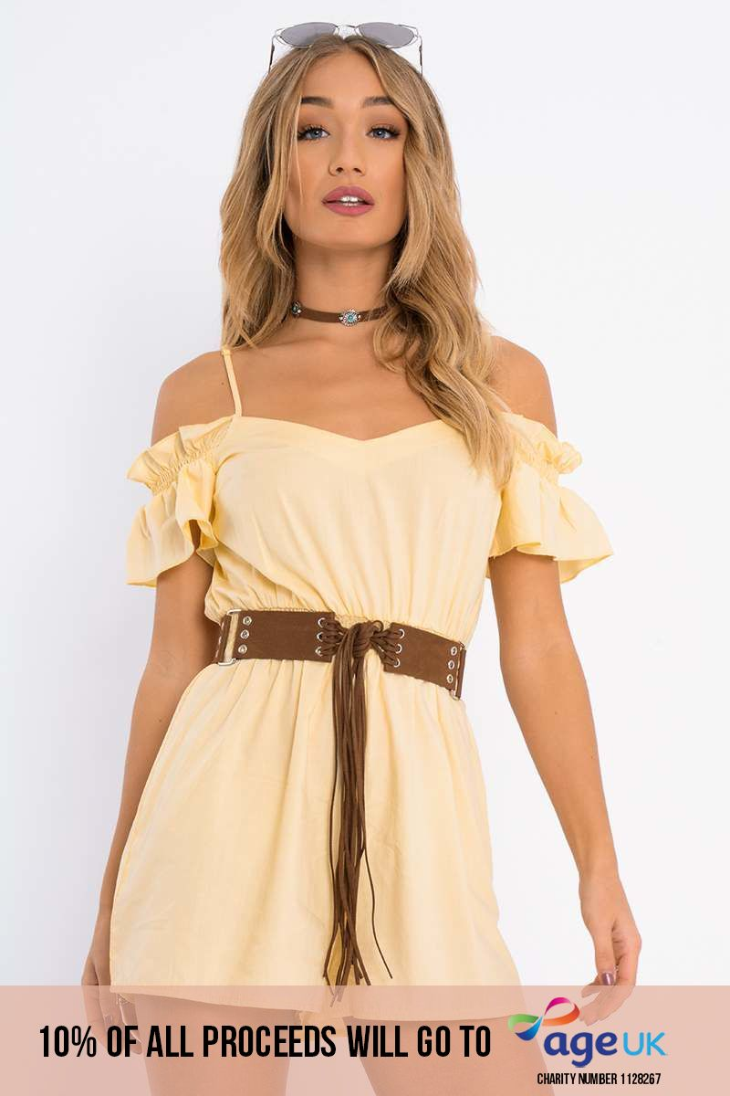 yellow frill cold shoulder playsuit