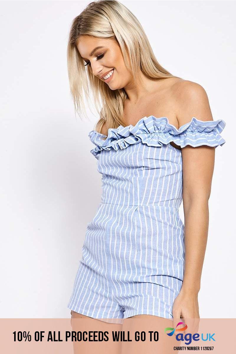 blue striped bardot frill playsuit