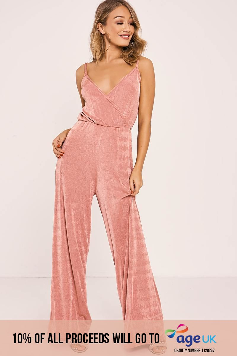 ZURIE ROSE SLINKY WRAP FRONT JUMPSUIT