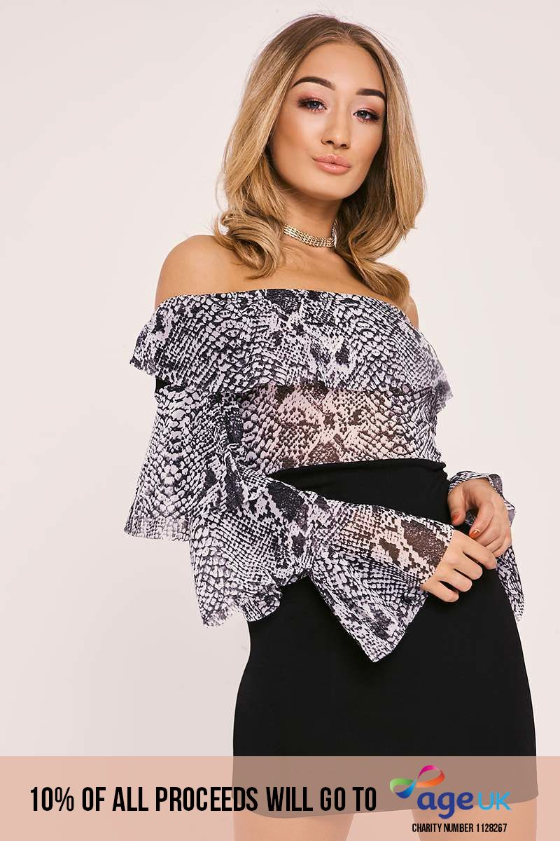 BENTLEY GREY SNAKE PRINT MESH RUFFLE BARDOT DRESS