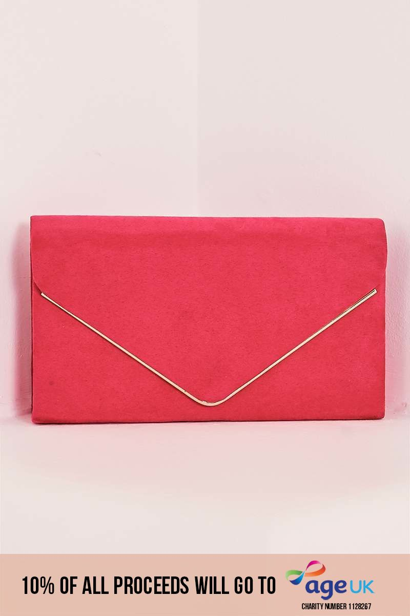 HOT PINK FAUX SUEDE CLUTCH BAG