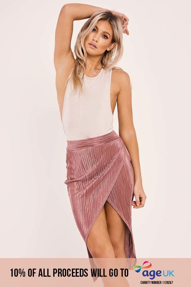 rose crinkle midi wrap skirt