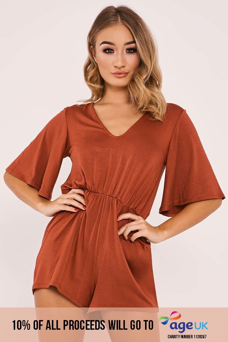 rust plunge playsuit