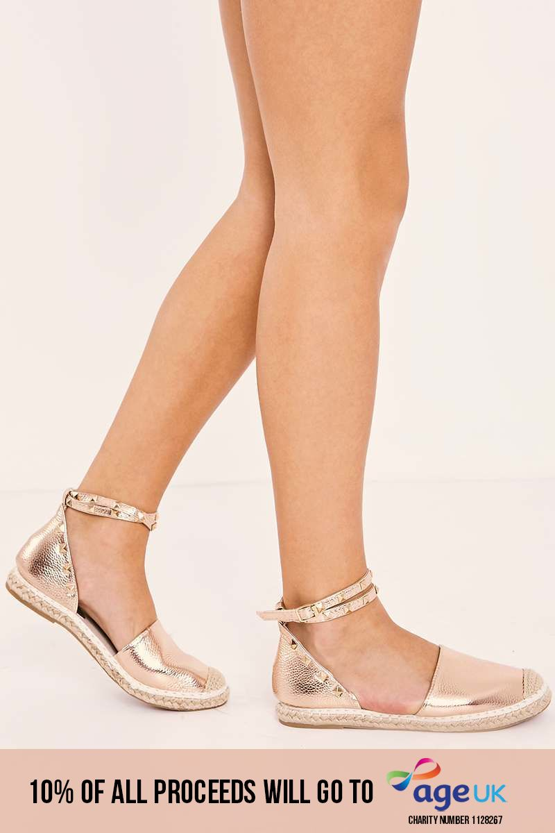 rose gold studded faux leather espadrilles
