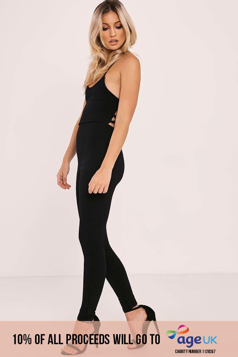 black lace up back jumpsuit