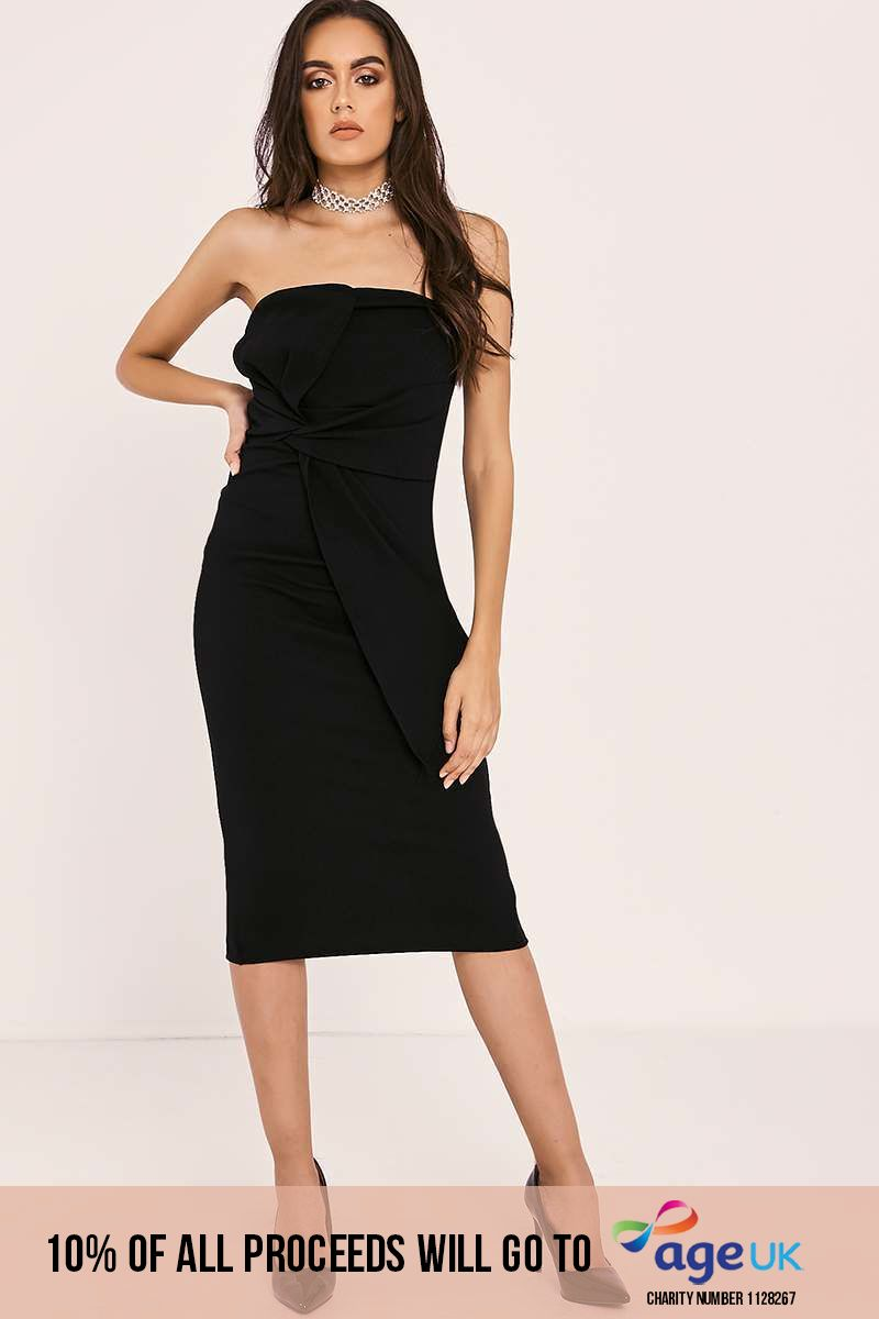 BAILEIGH BLACK WRAP KNOT FRONT BANDEAU MIDI DRESS