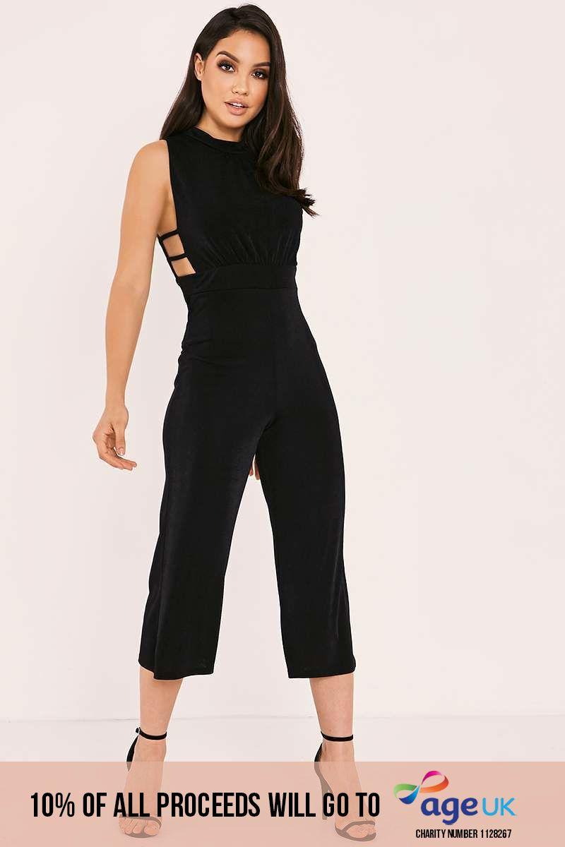 black slinky high neck culotte jumpsuit