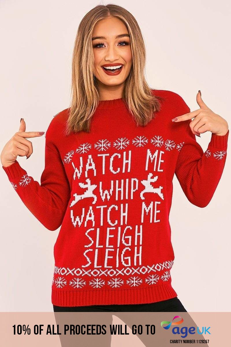 Watch Me Whip Watch Me Sleigh Sleigh Red Christmas Jumper