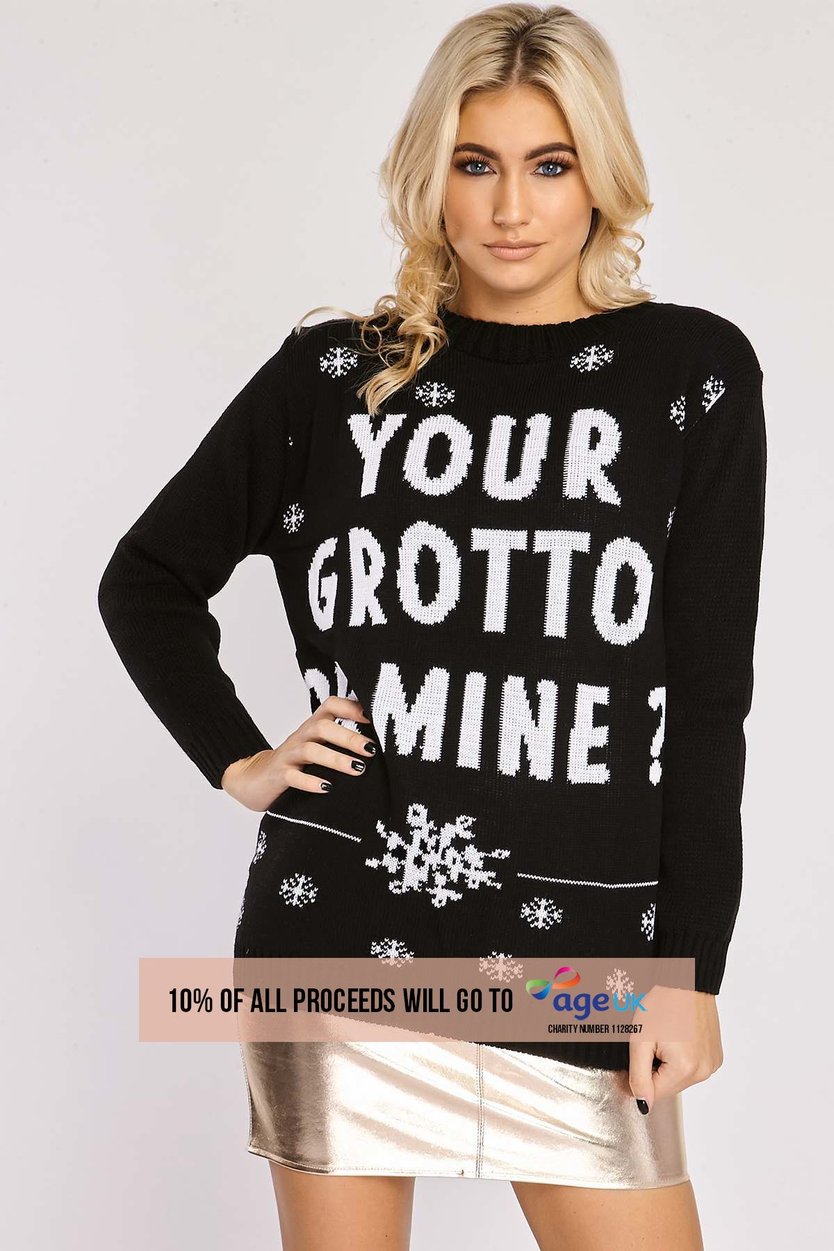 YOUR GROTTO OR MINE BLACK CHRISTMAS JUMPER