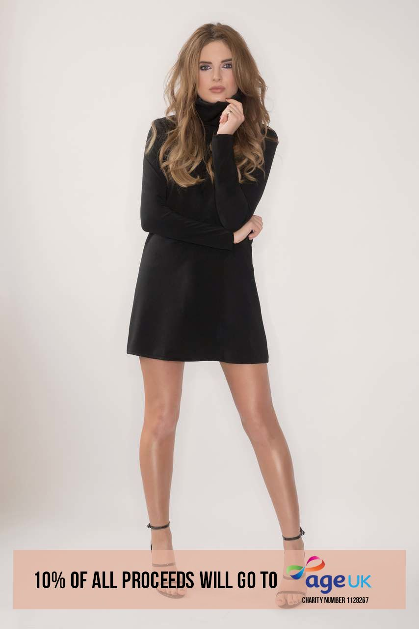 Binky Black Turtle Neck Dress