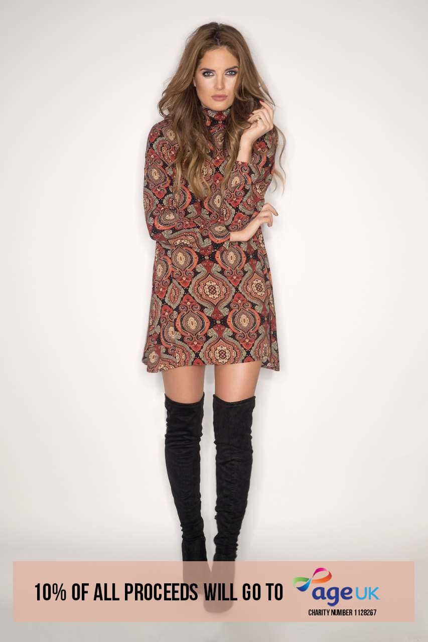 Binky Rust Baroque Turtle Neck Dress