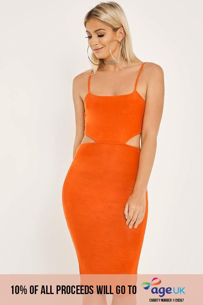 orange cut out midi dress